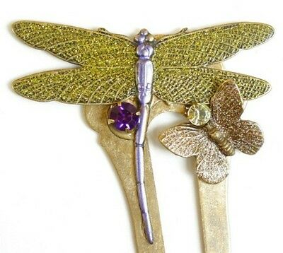 Sparkling DRAGONFLY & BUTTERFLY Garden Hair Ornament Handpainted 9166