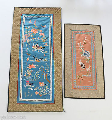 Two Chinese Embroidered Silk Panels  #20140071