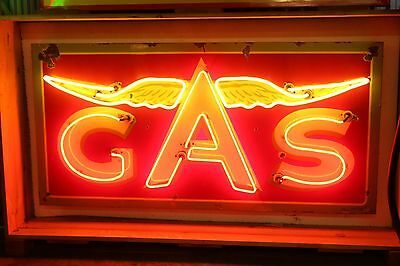 1930-50s Original Flying A Gas Neon Porcelain Advertising Sign Hard to find