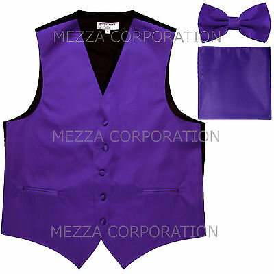 New Men's Vesuvio Napoli Tuxedo Vest Bowtie Hankie set prom party Purple