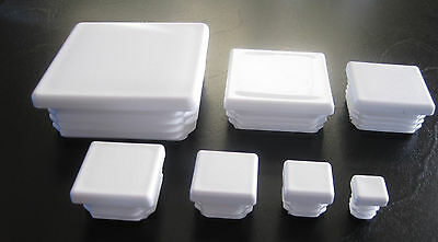 Square White Plastic End Cap Pipe Tube Plug Tubing Glide Feet Fence Post Insert