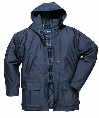 Waterproof Lined Rain Coat Jacket Padded Warm Outdoors Work Mens S521