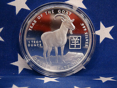 GSM 2015 Year of the Goat Uncirculated 1oz Troy .999 Fine Solid Silver Coin USA