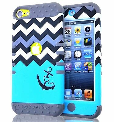 For iPod Touch 5th / 6th Gen - Hard&Soft Hybrid Durable Armor Case Chevron Waves
