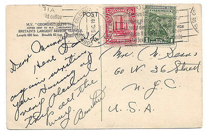 Cunard White Start M.V. Georgic 1935 Postcard from Colombia to NYC Artist Signed