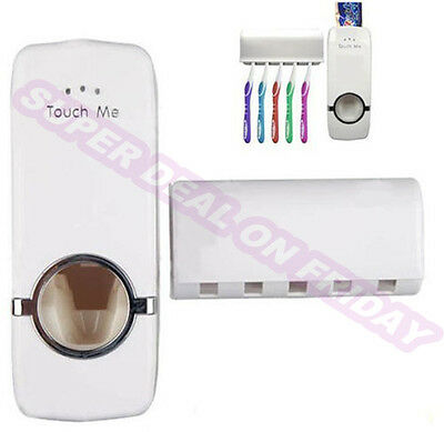 """""""Touch Me"""" Automatic Squeezing Toothpaste Dispenser and Holder Set Wall Mount"""