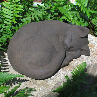Cast Stone Cement Small Curled Cat Outdoor Garden Statue