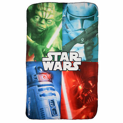 Childrens Star Wars Fleece Blanket featuring Yoda, Darth Vader and R2D2