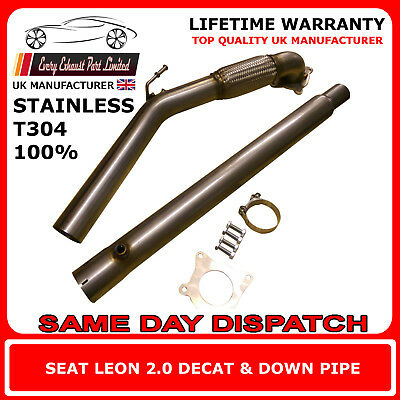 """Seat Leon 2.0T Stainless Steel T304 Decat and Downpipe 3"""" Bore UK Made"""