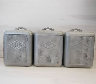 VINTAGE FRENCH 1950S RETRO METAL BOX CANISTER SET OF 3 Moulux