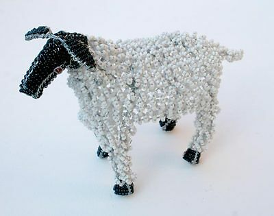 SHEEP FIGURE- Hand Beaded From Africa -Wire Beaded Collectible - Ornament