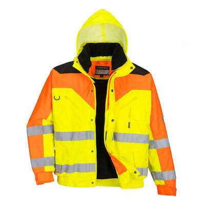 HI VIS 3 Tone Waterproof Contrast Bomber Jacket Zip-out fur lining Portwest S464