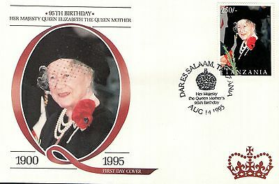 (80267) Tanzania FDC Queen Mother 95th Birthday - Dar Es Salaam 14 August 1995