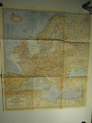 Lot of 3 National Geographic Wall Maps of Europe 1957 - 1977