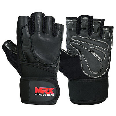 Weight Lifting Gloves Bodybiulding Gym Training Glove Leather Long Wrist Straps