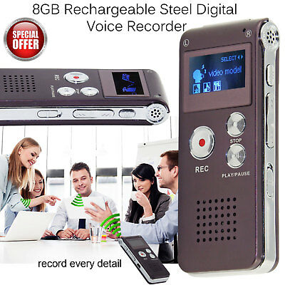 Digital Voice Recorder 8GB Rechargeable Steel Dictaphone Speaker MP3 Player LCD