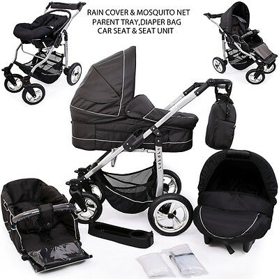 Pushchair + 3in1 + Car Seat + pram + stroller +Buggy Travel System SWIVEL WHEELS