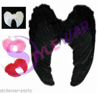 Angel Halo Or Large Wings Fancy Dress Fairy Feather Costume  Adult Hen Halloween