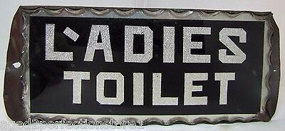 Antique Ladies Toilet Chip Glass Sign L'adies thick scalloped edge tin frame adv