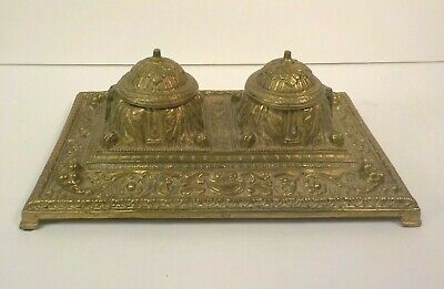 Antique Brass Ornate Double Inkwell / Inkstand, Milk Glass Inserts