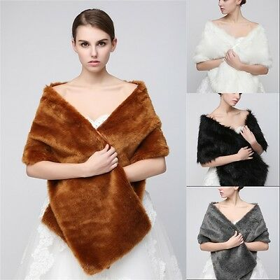 Gray Faux Fur Coat Jacket Bridal Dress Scarf Rug Collar Women Shawl Wraps Bolero
