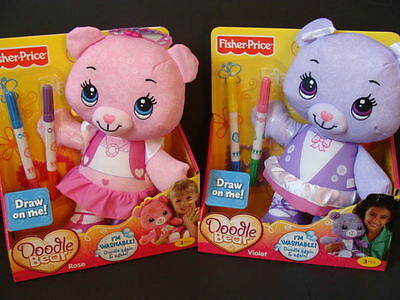 NEW Fisher Price 2 DOODLE BEAR Rose + Violet Set Washable Markers Stencil Pink