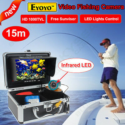 "NEW 15m Fish Finder Underwater Ice Fishing Infrared HD 1000TVL Camera 7"" Monitor"