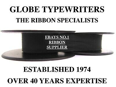 2 x SILVER REED SR500 *BLACK* TOP QUALITY *10 METRE* TYPEWRITER RIBBONS+EYELETS