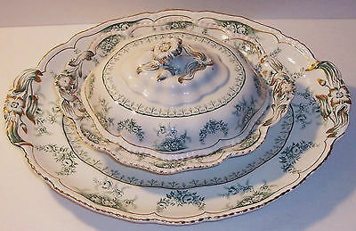 Pottery & Glass Other China & Dinnerware Cheap Price Antique Victorian Warwick Pottery Wheeling W Va Three Toed Berry Bowl W Tray
