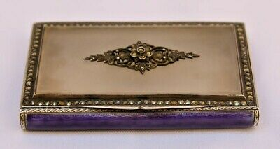 magnificent Art Deco  German silver rock crystal enamel and Marcasite box