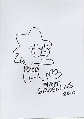 MATT GROENING personally hand drawn and signed 12x8 THE SIMPSONS - LISA SIMPSON