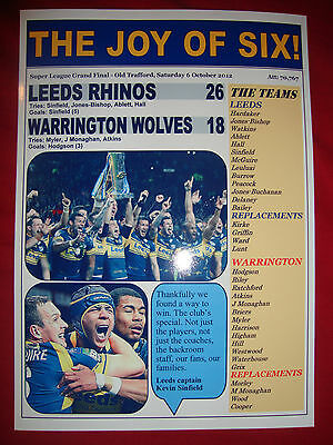 Leeds Rhinos 26 Warrington Wolves 18 - 2012 Grand Final - souvenir print