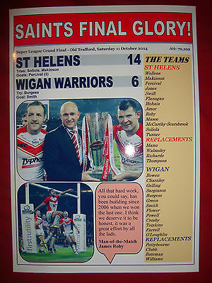 St Helens 14 Wigan Warriors 6 - 2014 Grand Final - souvenir print