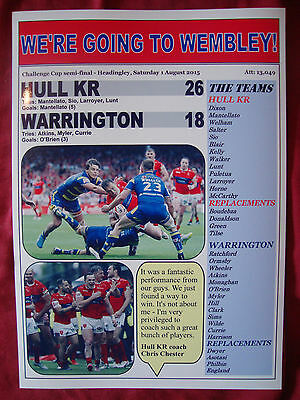 Hull KR 26 Warrington Wolves 18 - 2015 Challenge Cup semi-final - souvenir print