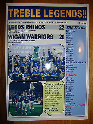 Leeds Rhinos 22 Wigan Warriors 20 - 2015 Grand Final - souvenir print