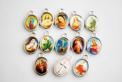 Wholesale 100Pcs Religious Crosses Enamel Medals Charms Pendants Cross 15mm