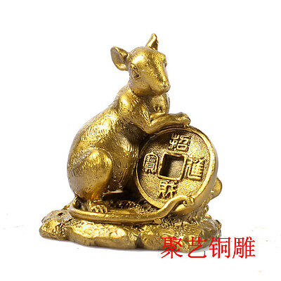 Chinese copper Zodiac Mouse Year Animal Wealth Statue