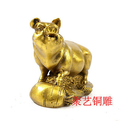 Chinese copper Zodiac Pig Year Animal Wealth Statue