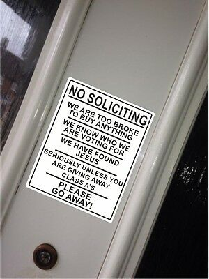 No Soliciting Bad Humour Sticker Small Novelty Funny Cold Callers Junk Class A