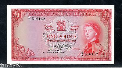 ~  RHODESIA  £1  One Pound Banknote - 1964 - P25a ~