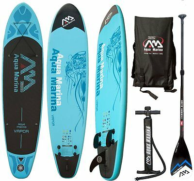 AQUA MARINA VAPOR SUP inflatable Stand Up Paddle Surfboard Modell 2016 Board+Car