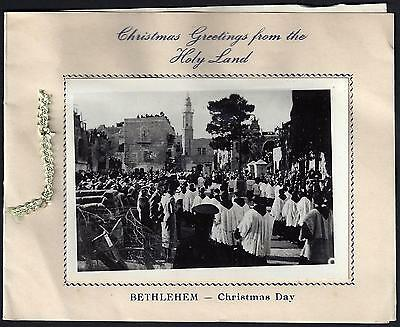 Palestine 1954 Bethlehem Christmas Card With Flowers From The Holy Land & Photo