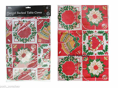 """Wipe Clean Red Christmas Flannel Bells Holly Dinner Table Cover Cloth 70 x 52"""""""