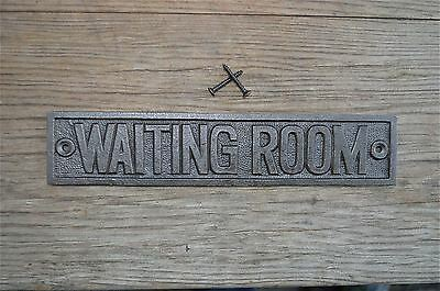 Fantastic Cast Iron Vintage Style Waiting Room Metal Door Sign Plaque Cb2