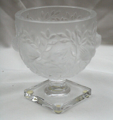 French Lalique Frosted Crystal Pedestal Vase With Bird & Floral Design