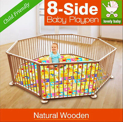 NEW NATURAL WOODEN BABY PLAYPEN , KIDS TODDLER , PET PEN , FENCE 8 Panel