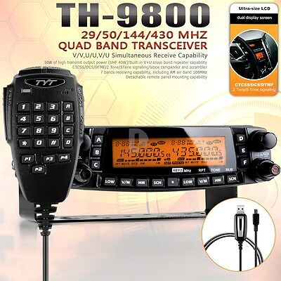 TYT TH-9800 + Quad Band Dual Display Reapter Car mobile radio transceiver 50W