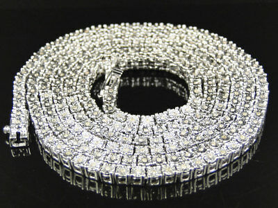 Mens White Gold FInish Round Cut 1 Row Real Genuine Diamond Chain 34 Inch