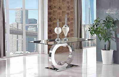 Channel Stylish Modern Designer Glass and Steel Dining Room Kitchen Table
