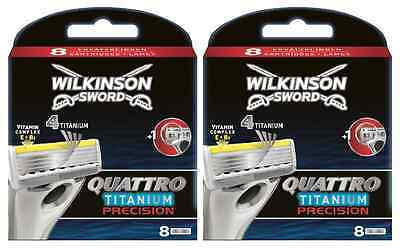 Wilkinson Sword Quattro Titanium Precision Carbon Razor Blades x16, 2 Packs of 8